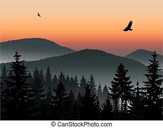 paysage., montagnes., panorama