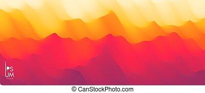 paysage, montagneux, désert, vecteur, silhouette., terrain.,...