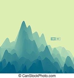 paysage., montagneux, montagne, résumé, terrain.,...