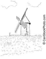 paysage, moulin