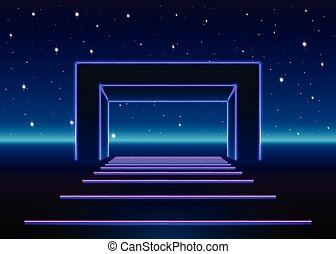 paysage, néon, jeu, avenir, massif, appelé, 80s, portail, brillant, route, retro