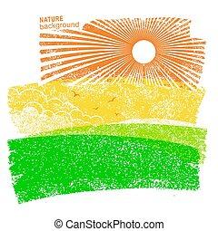 paysage, nature, fond, à, champs, et, soleil, dans, sky.