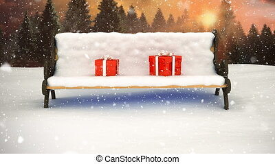 paysage, neige, hiver, banc, tomber