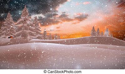 paysage, neige, hiver, coloré, tomber, ciel orange