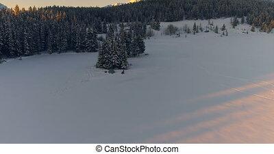 paysage, neige, touriste, couvert, 4k