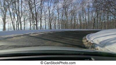 paysage, neigeux, conduite, voiture