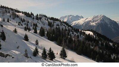paysage, neigeux, hiver, pentes, hautes montagnes, ski