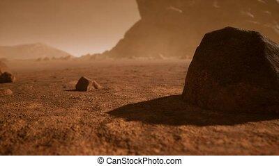 paysage, nuances, orange, rouillé, martien, fantastique