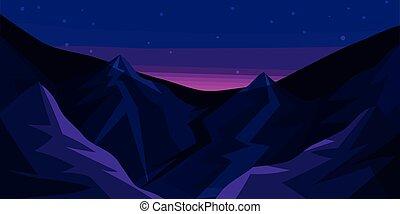 paysage, nuit, montagne, ciel, étoilé, vecteur, crêtes, illustration