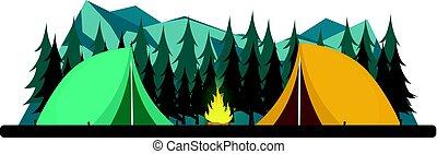 paysage., nuit, moonlight., rocheux, pin, camp., campfire., camping., montagnes., étoilé, nature, été, forêt