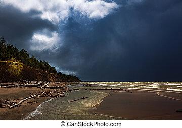paysage, ob, région, rivière, storm., novosibirsk, pendant, rivière, sibérie