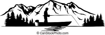 paysage, pêcheur, bateau, illustration), montagne, (vector