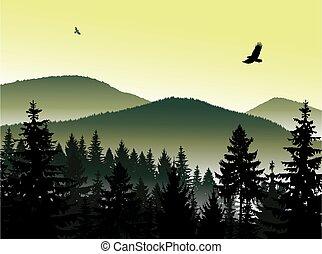 paysage., panorama, montagnes
