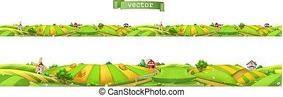 paysage, panorama, seamless, illustration, farm., vecteur, 3d