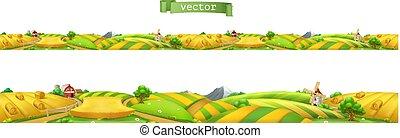 paysage, panorama., seamless, illustration, farm., vecteur, 3d