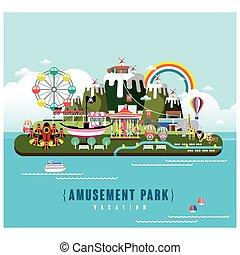 paysage, parc, amusement