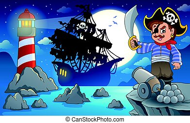 paysage, pirate, nuit