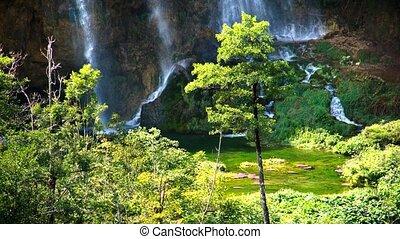 paysage, pittoresque, parc national, lacs, plitvice, chutes d'eau