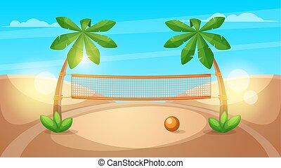 paysage., plage, illustration., volley-ball, dessin animé