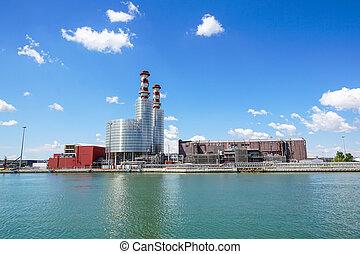 paysage., plante, industriel, puissance, chimneys., thermique