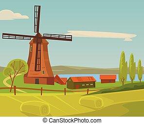 paysage., plat, ferme, illustration, vecteur, moulin, dessin animé
