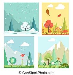 paysage, plat, hiver, nature, automne, quatre, vecteur, été, printemps, saisons, paysage