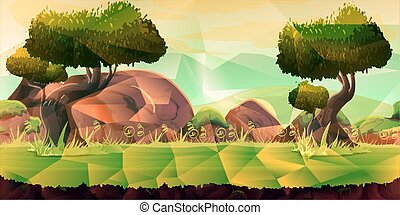 paysage., poly, conception, illustration, ton, bas