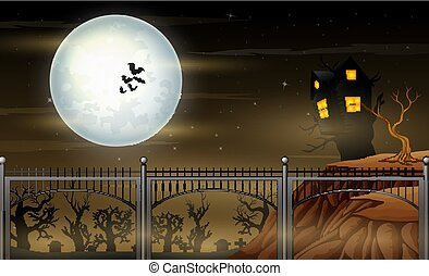 paysage, pont, nuit, clair lune, halloween
