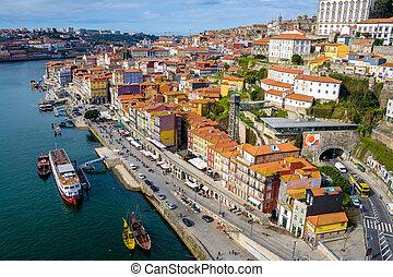 paysage, portugal, porto, supérieur, vue, ville, point.