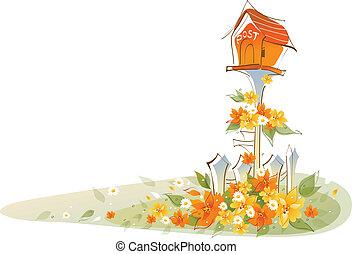 paysage, postbox, sur, floral
