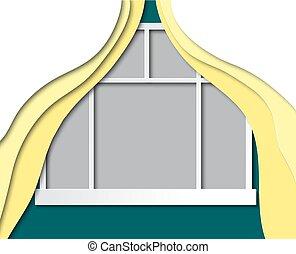 paysage., propre, room., maison, fenêtre, ajouter, vecteur, conception, gabarit, curtains., ton, vue
