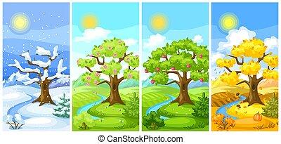 paysage., quatre saisons, illustration, montagnes, été, arbres, autumn., printemps, collines, hiver