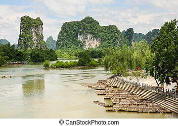 paysage, radeaux, idyllique, li, bambou, rivière