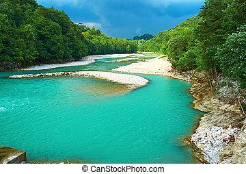 paysage rivière, alpin