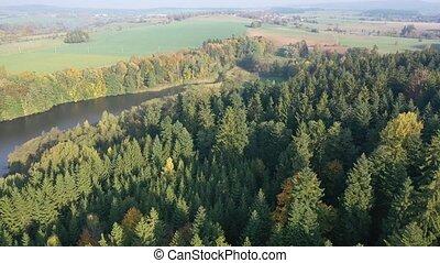 paysage rivière, arbres, impressionnant, automne