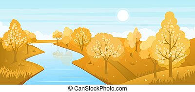 paysage, rivière, automne