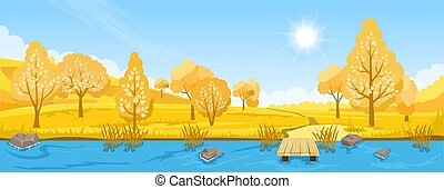paysage rivière, automne