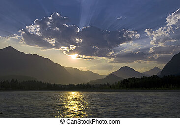 paysage, rivière, matin
