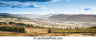 paysage rivière, scotland., scène, scene., pays montagne, ...