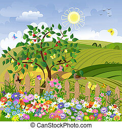 paysage rural, à, arbres fruitiers, et, a, barrière
