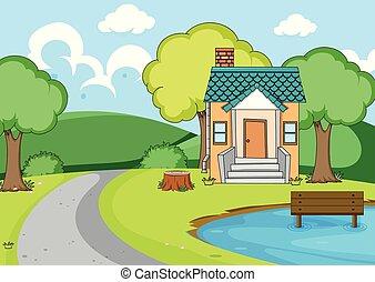 paysage rural, maison