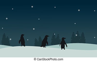paysage, silhouette, glace, manchots