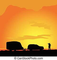 paysage,  silhouette,  Illustration,  camping, homme