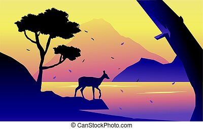 paysage, silhuoette, cerf, matin