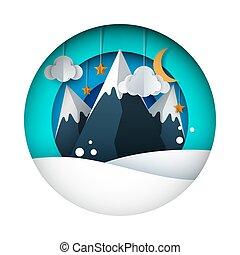 paysage., sky., lune, étoile, papier, soleil, nuage, dessin animé, montagne