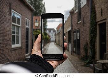 paysage., smartphone, photo, écran, main, fond, noir, tenue, vide, confection