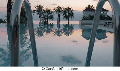 paysage, soir, coup, piscine, steadicam, vide, natation