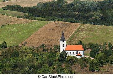 paysage., solitaire, foi, pays, god., église, rural, life.