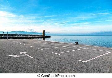 paysage, stationnement, mer, vide, secteur