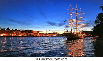 paysage, suède, soir, stockholm